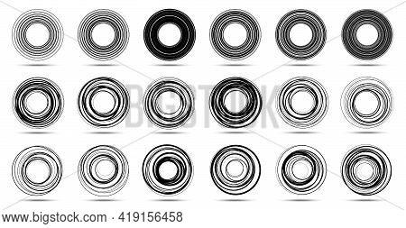 Circle Lines Isolated On The White Background. Circular Striped Line Frame Set. . Logo Design Elemen