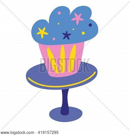 Cupcake On A Plate. Holiday Cooking Icon In A Flat Style For Decorating, Anniversaries, Weddings, Bi