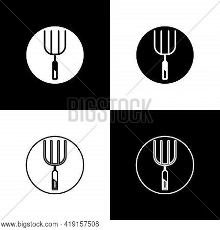 Set Garden Pitchfork Icon Isolated On Black And White Background. Garden Fork Sign. Tool For Horticu