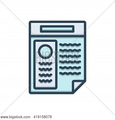 Color Illustration Icon For Resume Application Infographic Document Summary Information