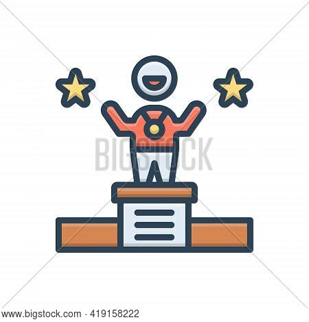 Color Illustration Icon For Win Vanquish Conquer Overcrow  Success Winner