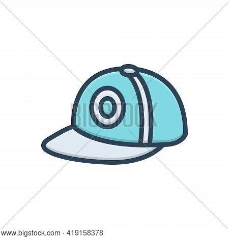 Color Illustration Icon For Cap Hat Headgear Mutch