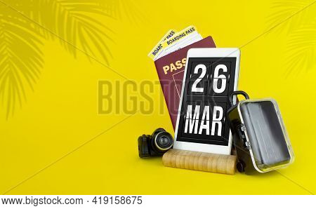 March 26th. Day 26 Of Month, Calendar Date. Mechanical Calendar Display On Your Smartphone. The Conc