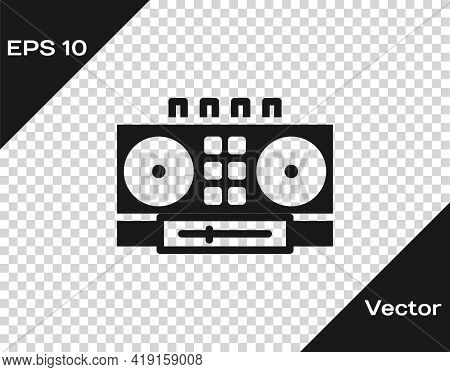 Black Dj Remote For Playing And Mixing Music Icon Isolated On Transparent Background. Dj Mixer Compl
