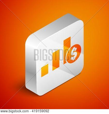 Isometric Pie Chart Infographic And Dollar Symbol Icon Isolated On Orange Background. Diagram Chart