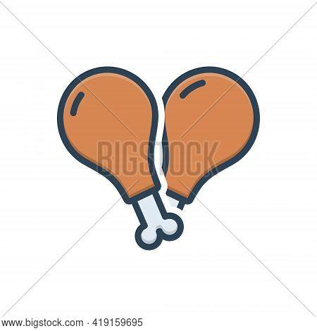 Color Illustration Icon For Meat Flesh Food Beef  Steak Slice Chicken Piece