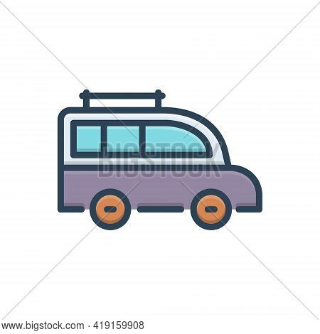 Color Illustration Icon For Van Transport Carriage Vehicle Conveyance Mini-bus