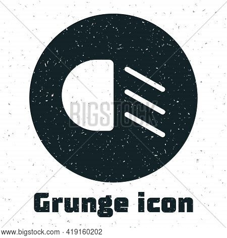 Grunge High Beam Icon Isolated On White Background. Car Headlight. Monochrome Vintage Drawing. Vecto