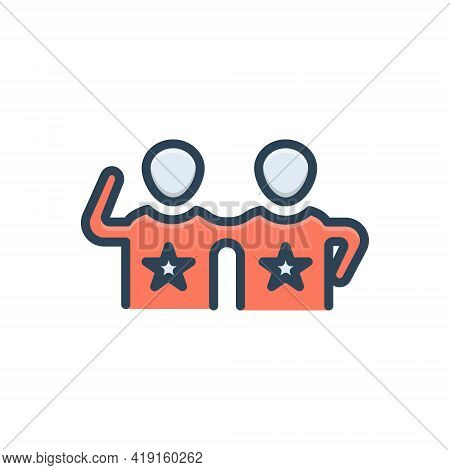 Color Illustration Icon For Friends Buddy Dost Mate Pal Chum