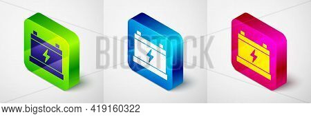 Isometric Car Battery Icon Isolated On Grey Background. Accumulator Battery Energy Power And Electri