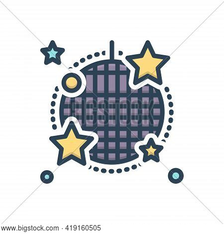 Color Illustration Icon For Cabaret Stage Nightclub Sparkling Disco-ball