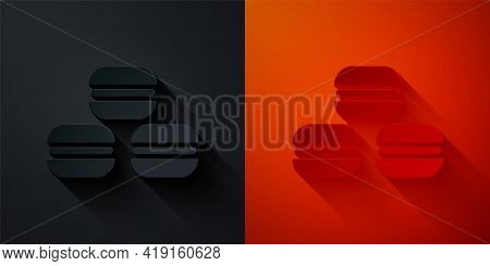 Paper Cut Macaron Cookie Icon Isolated On Black And Red Background. Macaroon Sweet Bakery. Paper Art