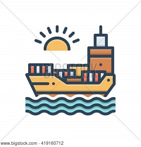 Color Illustration Icon For Chartering Ocean Sea Maritime Transport Transition