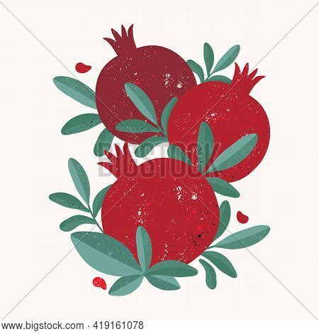 Abstract Modern Illustration Of Red Juicy Pomegranates For Social Media, Postcards, Print. Sweet Tro