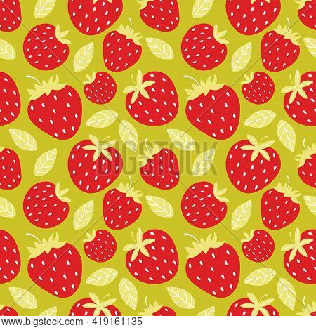 Seamless Pattern Of Juicy Red Strawberries On A Green Background. Whole And Half Sweet Berries. Summ