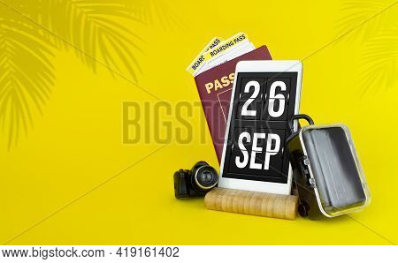 September 26th. Day 26 Of Month, Calendar Date. Mechanical Calendar Display On Your Smartphone. The