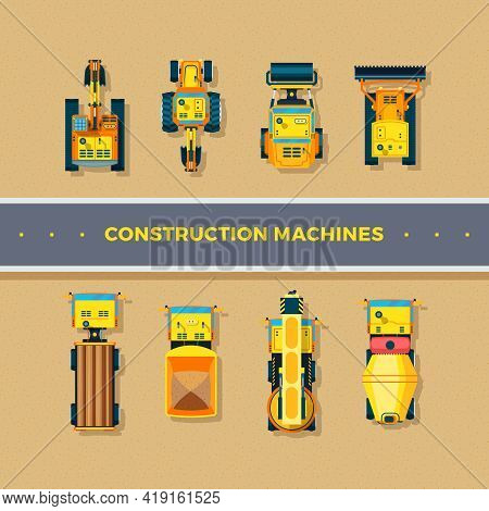 Construction Machines Top View With Bulldozer And Excavator Flat Isolated Vector Illustration
