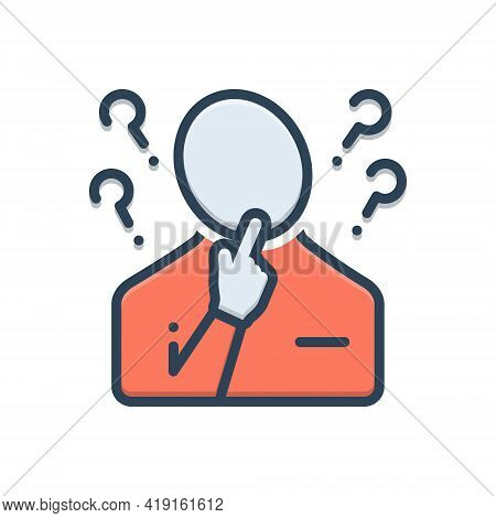 Color Illustration Icon For Concerning About Regarding Think Person