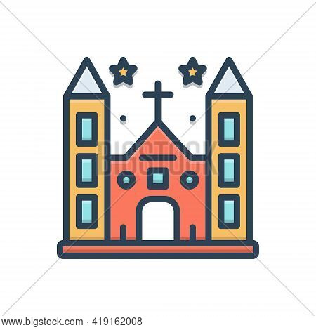Color Illustration Icon For Diocese Church Province Shire Presidency Building