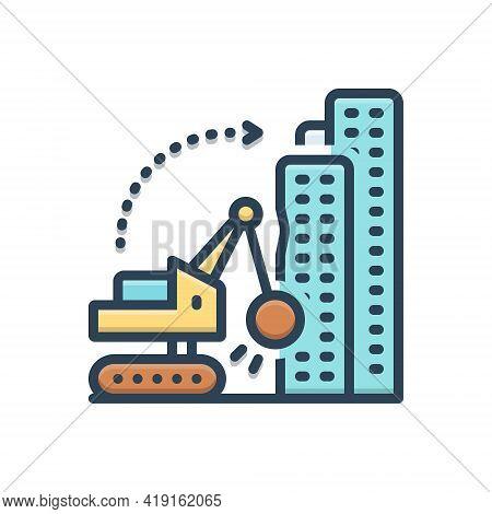 Color Illustration Icon For Dismantling  Building  Demolition Work Hammer Machinery