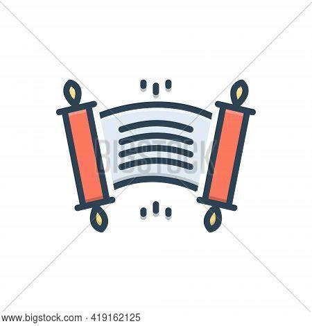 Color Illustration Icon For Edict Ordinance Rescript Scroll Royal-edict