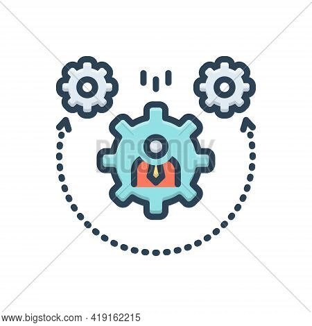 Color Illustration Icon For Dynamism Setting Cogwheel Stabilize
