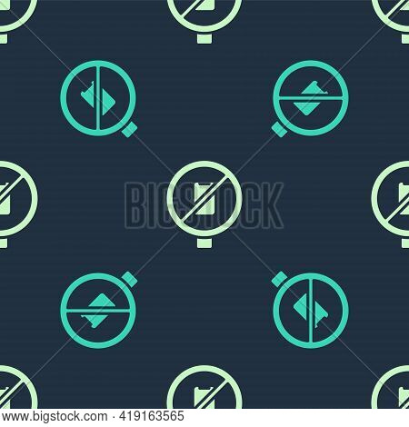 Green And Beige No Cell Phone Icon Isolated Seamless Pattern On Blue Background. No Talking And Call