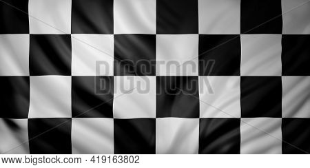 3d Rendering Of A Waving Checkered Flag