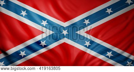 3d Rendering Of A Rebel Confederated American Flag