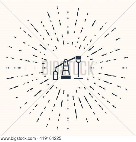 Grey Oil Pump Or Pump Jack Icon Isolated On Beige Background. Oil Rig. Abstract Circle Random Dots.