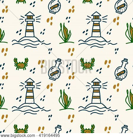 Sea Life Is A Hand-drawn Pattern. Doodle Background Of Marine, Oceanic, River Life, Underwater World