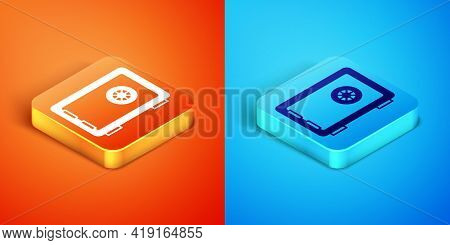 Isometric Safe Icon Isolated On Orange And Blue Background. The Door Safe A Bank Vault With A Combin