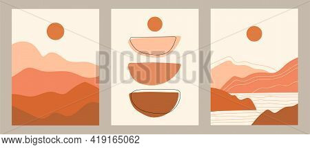 Boho Vector Set. Contemporary  Compositions With Geometric Shapes. Abstract Landscape. Bohemian Post