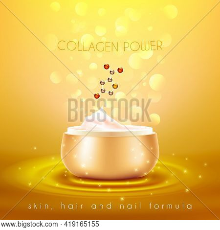 Collagen Power Moisturizing Face Skin Cream With Anti-aging Effect Advertisement With Golden Backgro
