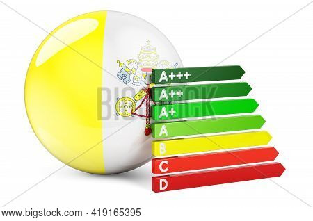 Vatican Flag With Energy Efficiency Rating. Performance Certificates In Vatican Concept. 3d Renderin
