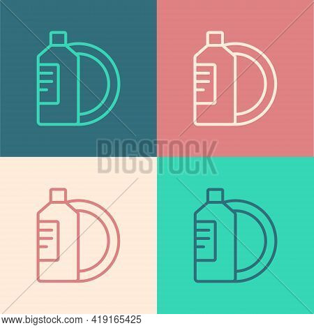 Pop Art Line Dishwashing Liquid Bottle And Plate Icon Isolated On Color Background. Liquid Detergent