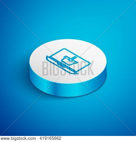 Isometric Line Shopping Basket On Screen Laptop Icon Isolated On Blue Background. Concept E-commerce