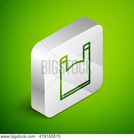 Isometric Line Plastic Bag Icon Isolated On Green Background. Disposable Cellophane And Polythene Pa
