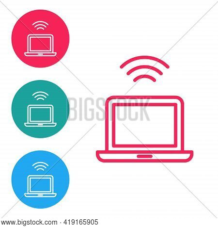 Red Line Wireless Laptop Icon Isolated On White Background. Internet Of Things Concept With Wireless