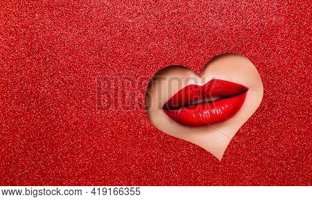Sexy Red Lips Makeup Close Up. Beauty Red Lipstick Make Up Look Out Heart Hole Glitter Red Color Pap