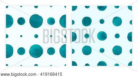 Vector Watercolor Polka. Seamless Dot Repeat. Blue Geometric Background. Watercolor Polka Tile. Abst