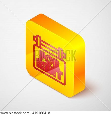 Isometric Line Hanging Sign With Text For Rent Icon Isolated On Grey Background. Signboard With Text
