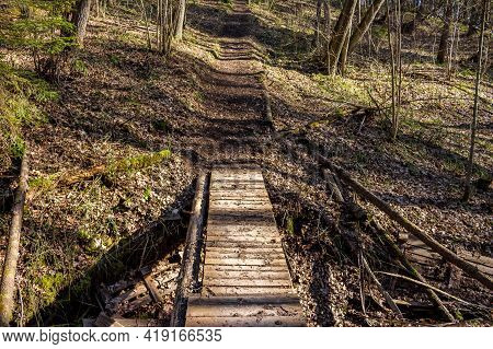 Footbridge Over A Small Ravine, Flooring Through A Ditch In The Forest