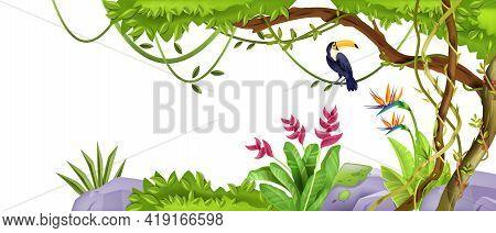Summer Jungle Landscape Frame, Tropical Tree, Toucan, Liana, Green Vegetation, Paradise Flowers, Iso