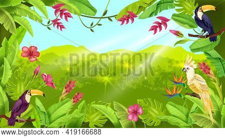 Jungle Vector Landscape, Tropical Forest Background, Toucan, Parrot, Exotic Flower, Sun Rays. Summer