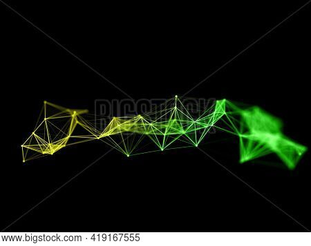 3D render of a modern plexus background with network communications design