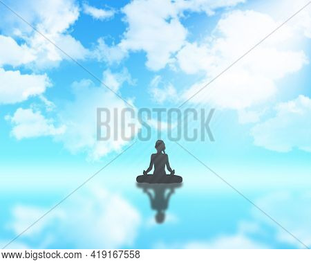 3D render of a female in yoga position against blue cloudy sky