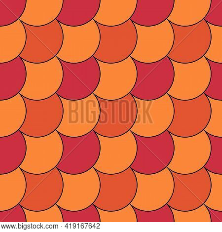 Seamless Scales Pattern. Japan Traditional Ethnic Embroidery Ornament. Repeated Color Scallops. Fish
