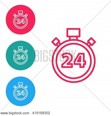 Red Line Stopwatch 24 Hours Icon Isolated On White Background. All Day Cyclic Icon. 24 Hours Service
