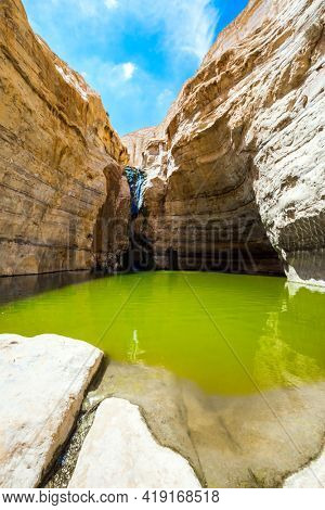Picturesque waterfall in the middle of the Negev desert. The gorge Ein Avdat is formed by the Qing River. Israel. The greenish smooth water of a small lake. The concept of active and photo tourism